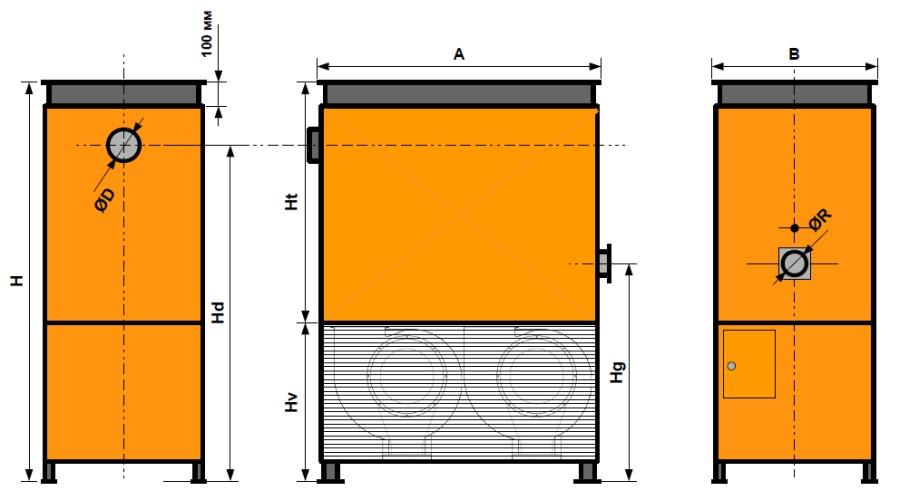 Теплогенератор  NORDMATIC серии VT-K для канальных систем воздуховодов котловая сталь